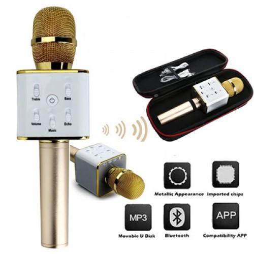 Bluetooth микрофон для караоке Q7 Блютуз микро + ЧЕХОЛ Черный