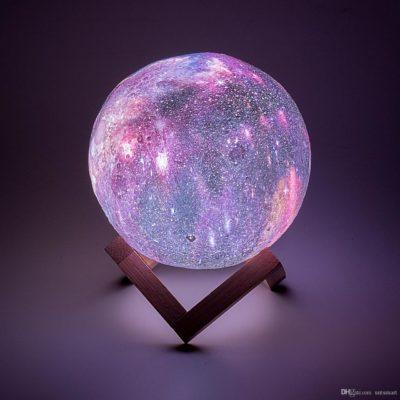 Дизайнерская, яркая Сенсорная лампа ночник 3D космос 18см. Лучшая Цена!