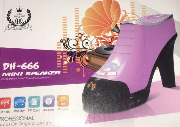 Колонка с USB, SD, FM и аккумулятором в виде туфли DH-666