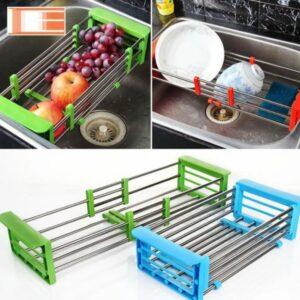 Многофункциональная складная кухонная полка Kitchen Drain Shelf Rack от 33см до 48см