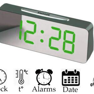 "Большие настольные часы будильник VST-763Y Зелёные Цифры (зеркальный диспелей 7,8"")"