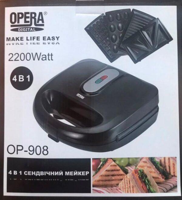 Мультикукер 4 в 1 Орешница Гриль Сендвичница Вафельница Opera OP-908