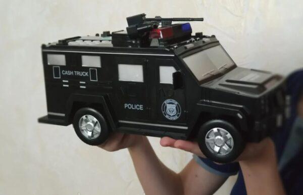Детский сейф с кодом и отпечатком пальца в виде полицейской машины Cash Truck
