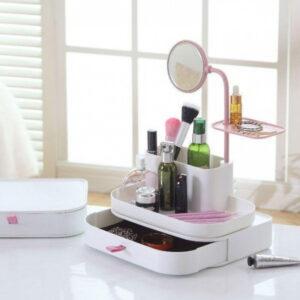 Настольный ящик-органайзер для хранения косметики с зеркалом ТРМ 7009 белый