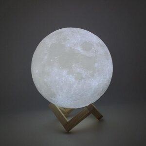 Большой настольный светильник с пультом на аккумуляторе Magic 3D Moon Light RGB Луна