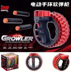 Игрушечное оружие автоматический бластер Growler на 28 зарядов ,работает от аккумулятора