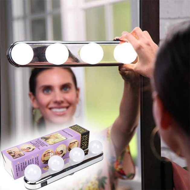 Лампа 4 LED для зеркала для макияжа на присосках (W0-33)