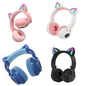 Беспроводные Bluetooth наушники с ушками с LED подсветкой STN 26