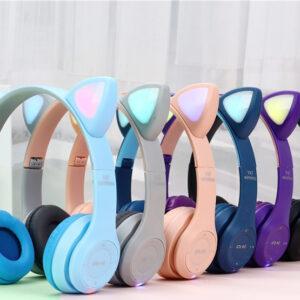Беспроводные Bluetooth наушники с ушками с LED подсветкой Y47