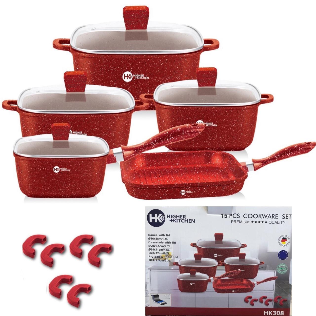 Набор кастрюль и сковорода Higher Kitchen HK-308, Набор посуды с гранитным антипригарным покрытием