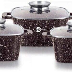 Набор кастрюль с гранитным антипригарным покрытием Higher Kitchen HK-301, кастрюли с крышками