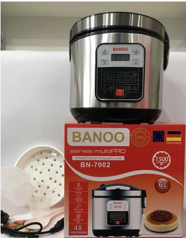 Профессиональная мультиварка Banoo BN-7002 6л 1500W 48 программ скороварка пароварка йогуртница