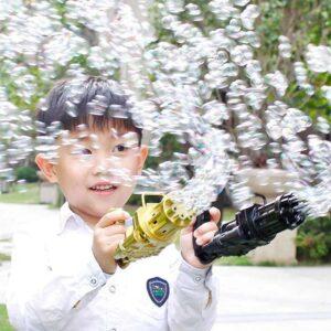 Детский пистолет для пузырей Gatling, летняя автоматическая машина для мыльных пузырей