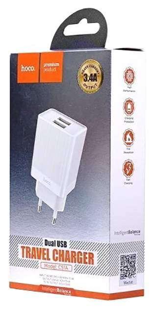 Сетевой адаптер питания Hoco C51A White зарядка 3.4А 2 USB-порта белый