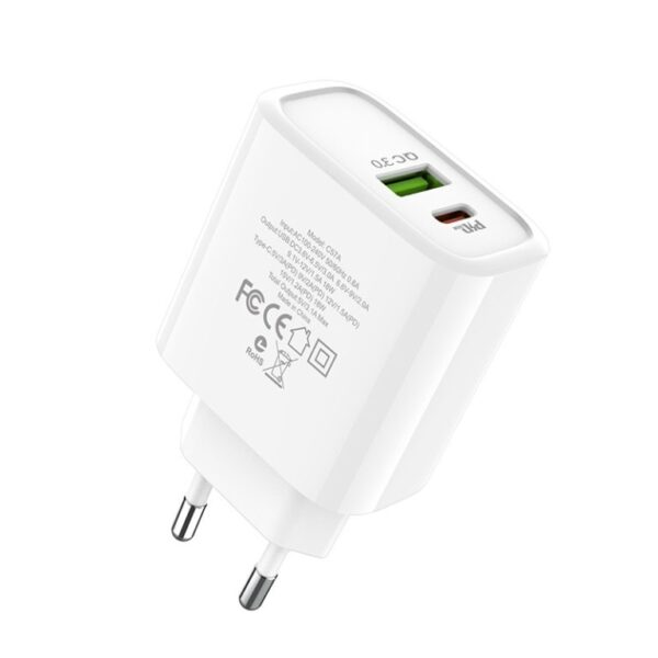 Сетевой адаптер питания Hoco C57A White HOCO Speed C57A  Type-C/USB, PD/QC3.0, 3A 