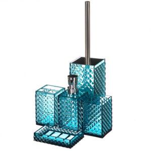 Стильный набор для ванной и туалета синий 273Jh