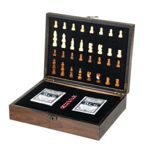 Набор игр в деревянном боксе (шахматы, карты, кости) (8718-005)