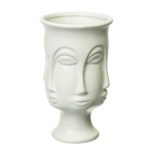 """Керамическая ваза """"Лик"""" белый цвет 20.5 см 8723-001"""