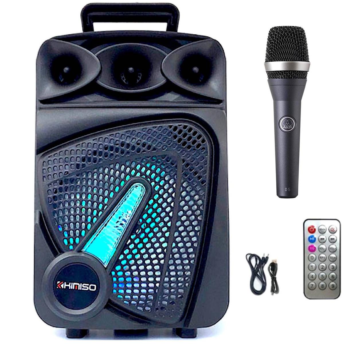 Портативная колонка Kimiso QS-823 Bluetooth, с микрофоном для караоке, FM радио, MP3, пультом