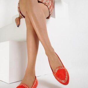 Красные замшевые балетки на плоской подошве