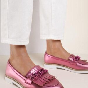 Женские туфли лоферы малиновые низкий ход