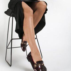 Женские туфли лоферы бордовые низкий ход