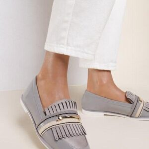 Женские туфли лоферы серые низкий ход