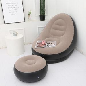 Надувное садовое кресло с пуфиком Air Sofa Comfort zd-33223, велюр, 76*130 см