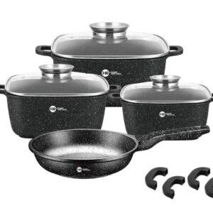 Набор кастрюль и сковорода Higher Kitchen HK-312, Набор посуды с гранитным антипригарным покрытием ЧЕРНЫЙ