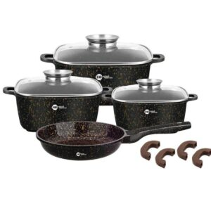 Набор кастрюль и сковорода Higher Kitchen HK-312, Набор посуды с гранитным антипригарным покрытием КОРИЧНЕВЫЙ