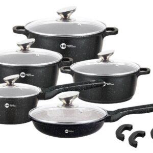 Набор кастрюль и сковорода Higher Kitchen HK-305, Набор посуды с гранитным антипригарным покрытием ЧЕРНЫЙ