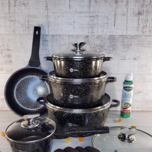 Набор кастрюль и сковорода Higher Kitchen HK-305, Набор посуды с гранитным антипригарным покрытием КОРИЧНЕВЫЙ
