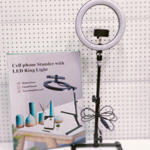 Кольцевая LED лампа для блогеров 26 см настольная на штативе Cell phone Stander with LED Ring Light