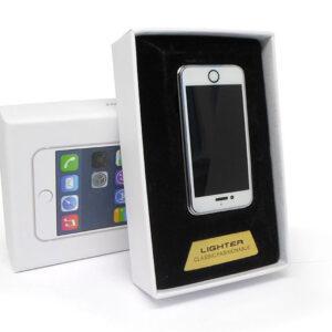 Аккумуляторная электро импульсная спиральная USB зажигалка S-005 в виде Айфона в подарочной упаковке