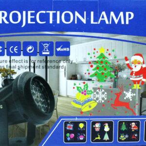 Лазерный проектор на Новый год Projection Lamp с 16-ю рисунками и кронштейном SE-328-01