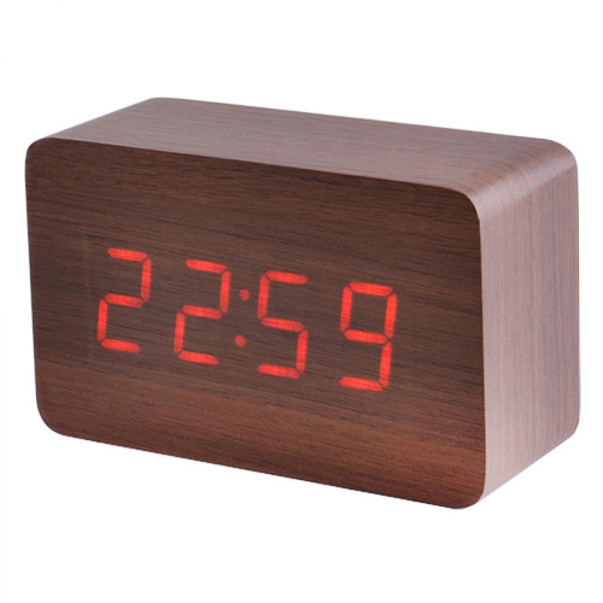 Стильные настольные часы под дерево VST863-1 с красной подсветкой