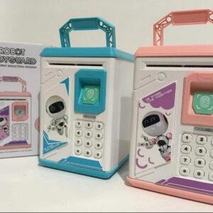 Детская электронная копилка сейф с кодовым замком и отпечатком пальца ROBOT BODYGUARD Разные Цвета!