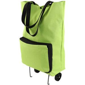 Удобная складная хозяйственная сумка на колесах Салатовая