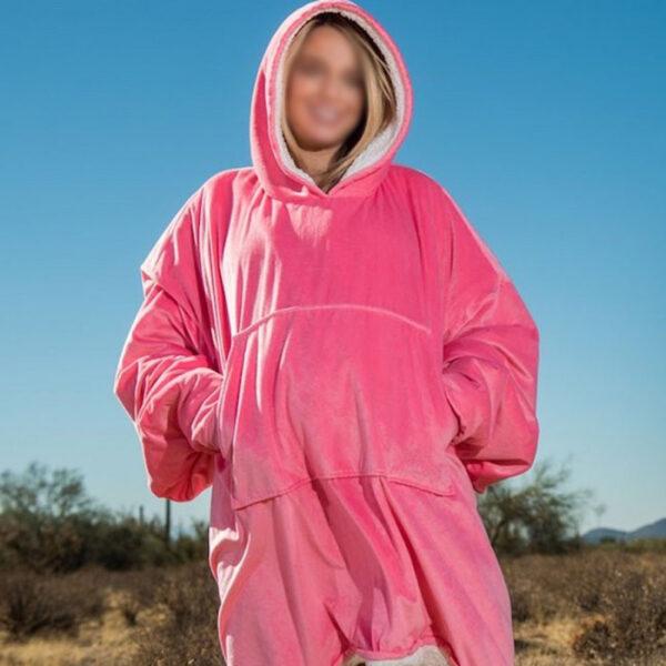 Толстовка - плед HUGGLE HOODIE BLANKET TV000834, плед с рукавами Розовый
