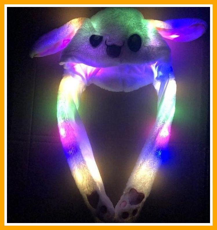 Светящаяся шапка с двигающими ушками Пикачу Pikachu toys soft toys with led БЕЛАЯ