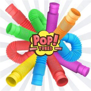 Развивающая сенсорная детская игрушка гофрированные трубки антистресс поп туб растягивающаяся 20-75см Pop Tubе