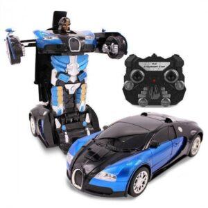 Машинка радиоуправляемая трансформер Robot Car Bugatti Size12 СИНЯЯ  Робот-трансформер на радиоуправлении 1:12