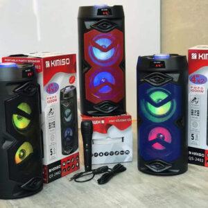 Портативная колонка Kimiso QS-2402 Bluetooth, с микрофоном для караоке, FM радио, MP3, пультом